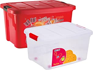 Multi Purpose Kids Toy Storage Box (Pack of 2) - Plastic (50 LTR. Red & 25 LTR. Transparent Combo) (NY-001555-RD50-TP25)