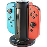 Lioncast Joy-Con Quad-Charger für Nintendo Switch, Controller Ladestation mit stabilem Stand, LED-Ladeanzeige