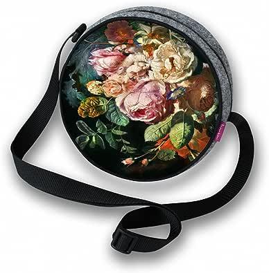 BERTONI Damen Tasche Schultertasche Umhängetasche Rund Blumen Muster Grau