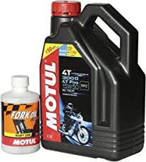 Motul Combo of 3000 4T 15W50 API SM HC-Tech Engine Oil (2.5 L) and Fork Oil for Royal Enfield Bullets (350 ml)