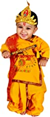 Krystle cotton Krishna Dhoti Kurta Dress for Infant (Pack Of 5-Kurta,Dhoti,Bansuri,Mukut,Patka)