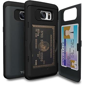 TORU CX Pro Coque Galaxy S7 Edge Carte avec Fente Cartes de Crédit Caché et Miroir pour Samsung