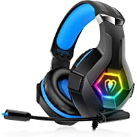 Gaming Headset für PS4 PS5 PC Xbox One, PS4 Headset mit Mikrofon 3D Surround Sound Kopfhörer Noise Cancelling RGB LED…