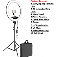(10 in 1 Pack) 18 Inches LED Ring Light with Stand,U-Shaped Bracket,Power Adapter,Smartphone Clip,Dimmable 2700-5500K…