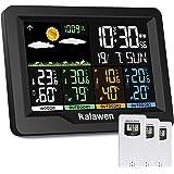 Kalawen Stazione Meteo Meterologica Digitale con 3 Sensore Esterno Wireless Automatica con Schermo LCD Display Sveglia Tempo