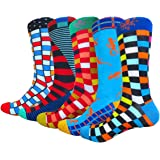 HIWEAR Mens Colorful Funky Cool Design Rich Cotton Comfort Dress Crew Socks Pack