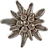 Alpenflüstern, spilla a forma di stella alpina in strass, colore argento anticato API106