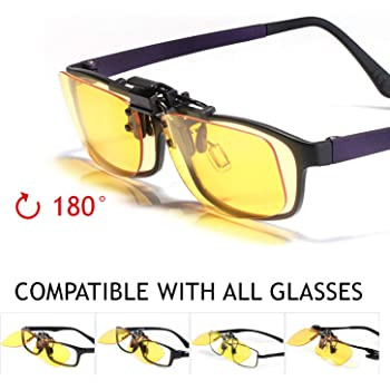 KLIM OTG Glasses Clip on Eyeglass Eyewear to Block Blue Light NEW 2019 Version- High Protection for Screen - Gaming Glasses PC Mobile TV - Anti Eye Fatigue Anti UV Anti Blue Light -Filters Blue Lights