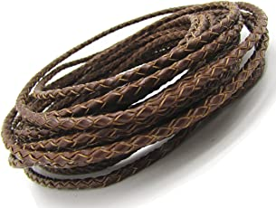 Cord Necklace 3.0mm Round Folded Bolo Leather Cord for Necklace Bracelet Jewelry Making (Brown, 5 Meters)