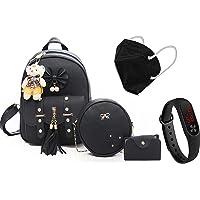 Prestigious Fashion Girls 3-PCS Fashion Cute Stylish Leather Backpack & Sling Bag Set for Women Teddy Bear Keychain…