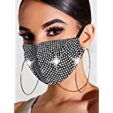 Handcess Sparkly Crystal Mesh Mask Glitter Strass Masquerade Ball Party Nightclub Face Masks Halloween Genie Costume Accessor