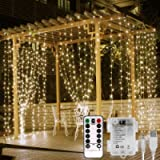 Lepro Fairy Curtain Lights Battery Operated, USB Powerd Indoor Outdoor Gazebo Lights, 3m x 3m 300 LED Warm White String…