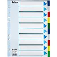 Esselte Intercalaires A4 10 Touches, Multicolore, Onglets Renforcés en Plastique Résistant avec Table des Matières…
