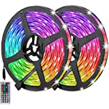 Auelek Led-strip, 10 m, RGB, meerkleurig, 5050 RGB, 300 leds, IP65, waterdicht, flexibele snijbare neon-decor-ledstrip met 44