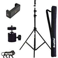 Prolite Tripod Kit with 9 Ft Light Stand, Mobile Holder, Mini Ball Head & Carry Bag for Indoor, Outdoor and Travel Photo…