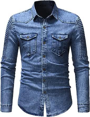 Men Shirt Men Denim Shirt Casual Comfortable Classic Lapel Men Shirt Autumn New Long Sleeve Slim Buttoned Casual Men Shirt Fashion Men Clothing with Pockets
