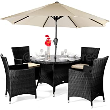 01d3e77304 Cannes Rattan Round 4 Seater Dining Set Brown With Parasol - Brown Rattan  Garden Furniture Set - 4 ...