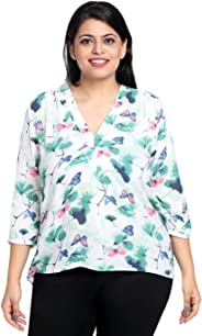 The Pink Moon Plus Size White & Green Butterfly Printed Top  Sizes Large to 6XL