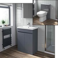 Aurora Bathroom Furniture 600mm Vanity Unit Basin & Soft Close Seat Toilet Set Gloss Grey