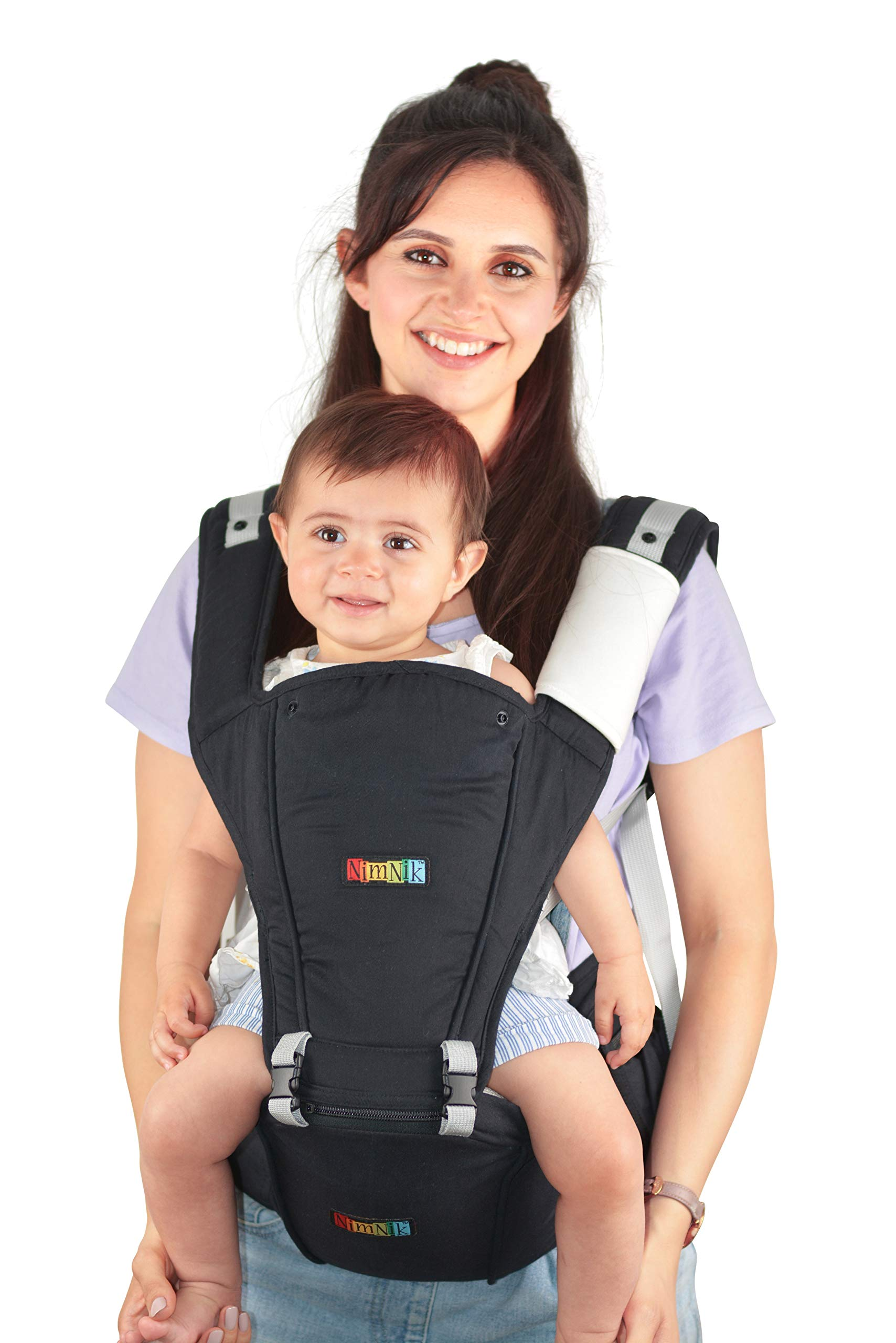 Baby Carrier Hip Seat Sling by NimNik Best Safe Backpack Carriers Back Pain Support (Pearl Black) NimNik ★ NO MORE BACK AND SHOULDER PAIN - NimNik offers an innovation in baby carrying fashion and quality for girls and boys! This Soft Structured Baby Carrier is not only versatile with four different carry positions, but perfectly comfortable for both you and your little one. That twined with unmatched durability makes NimNik Baby Carriers a popular choice in ergonomic baby carriers! ★ DESIGNED FOR STYLE AND COMFORT - With superior padding in our adjustable EXTRA LONG WAIST STRAPS (50 inches / 125 cms) and ergonomic lumbar support for you, say goodbye to backpain and other back, hip and shoulder related carrying issues. With the extremely ergonomic hip seat, you can rest assured that your little one is sitting pretty in style and comfort no matter how you carry! ★ PREMIUM COTTON FOR SOFT AND COSY FEELING - From front facing out and facing in, to hip, to back carry, you'll be comfortable, and so will children. Not every baby likes to be carried the same way, from 6 months and up. Our baby carrier comes with a wide range of comfortable carry positions to use as best suits the both of you, without the back pain after maternity. 1