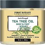 مقشر للجسم والقدم بزيت شجرة الشاي الطبيعي بنسبة 100% مع ملح البحر الميت - الأفضل لحب الشباب والقشرة والثآليل، يساعد على تناول