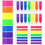 Pangda 700 Pieces Flags Index Tabs 3 Sizes Sticky Notes Writable Labels Page Marker Bookmarks Text Highlighter Strips, 7 Colo