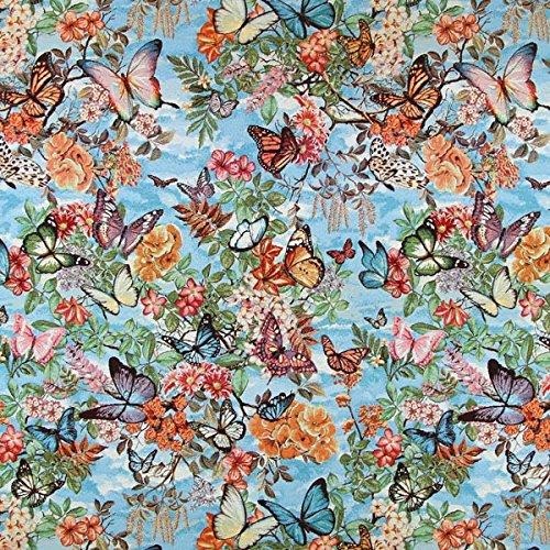 Jacquard-stoff-tasche (Gobelin Schmetterling blau — Meterware ab 0,5 m — zum Nähen von Kissen und Tagesdecken, Vorhängen und Gardinen und Tischdekorationen)