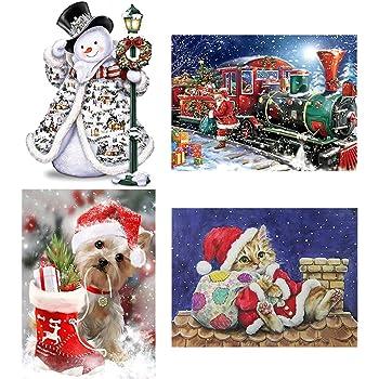 Guwheat 4 Pack 12X16 inches Christmas DIY 5D Diamond Painting Kits Santa  Snowman Lovely Cat Dog 353b5288b