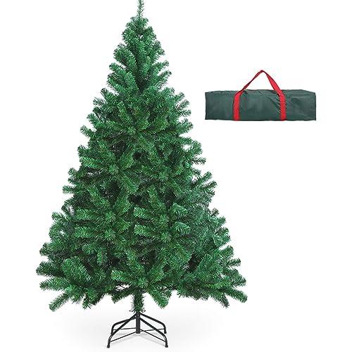 OUSFOT Albero di Natale 180cm con Custodia 800 Rami Supporto Pieghevole in Metallo Alberi di Natale Artificiale PVC Facile da Montare per Natalizie Decorazioni da Interno e All'aperto