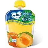 Mellin, Pouch Merenda 100% Albicocca con Vitamina C - 6 Confezioni da 90 gr