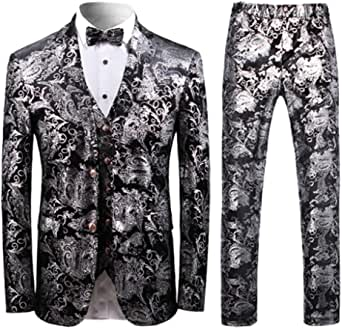 Mens Suits 3 Piece Slim Fit Blue Luxury Blazer Trousers Waistcoats Wedding Business Prom Floral Printed Suit for Men