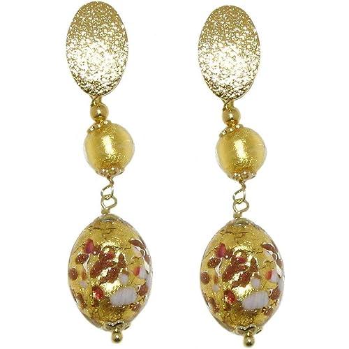 Venetiaurum - Orecchini Lunghi per Donna con Perle in vetro Originale di Murano e Argento 925 - Gioiello Made in Italy Certificato