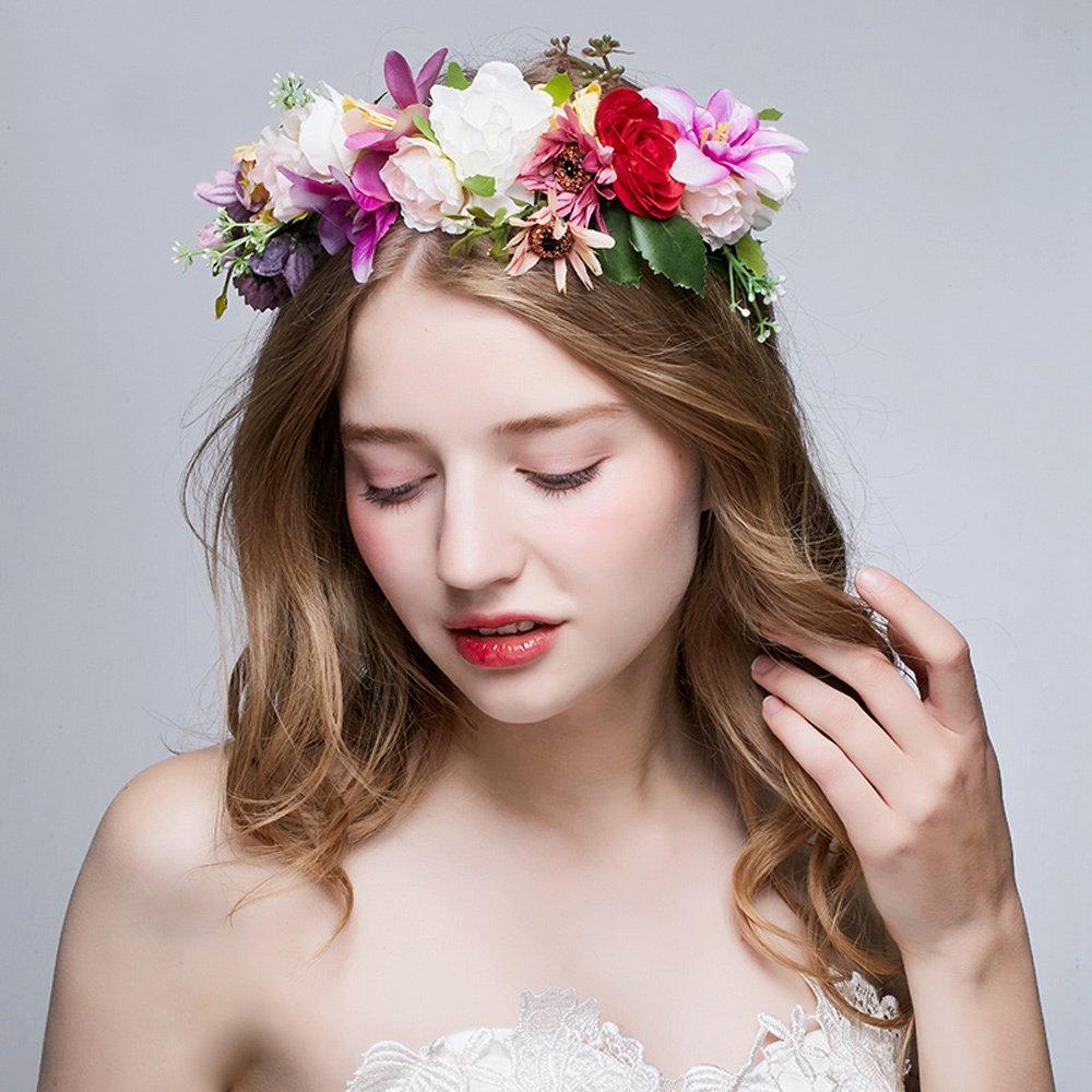 Okbo Frauen Madchen Seide Garn Blumen Krone Haarschmuck Blumenkranz
