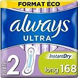 Always Ultra Serviettes Hygiéniques, Taille 2, Long, 168 Serviettes (12x14 Pack), Format Eco, Max Comfort, Super Absorbantes