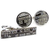 Manschettenknopfe und Krawattenklammer set mit Recycled Shaltungsplatine (circuit board), Schwarz/Dunkelbraun