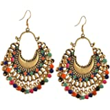 Zukhruf Fashion German Silver Beaded Chandbali Hook Earrings Jewellery for Women (Gold)