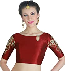STUDIO SHRINGAAR WOMEN'S POLY RAW SILK MAROON READYMADE SAREE BLOUSE WITH SLEEVES EMBROIDERY