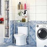 sarah Badkamer Wasmachine Opbergrek 3-laags Toilet Metalen Opbergplank met haak, Besparingsruimte, Wit