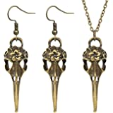 Chamqueen Halloween Raven Crow Skull Necklace Earrings Gothic Vintage Bird Skull Head Jewelry Set Unique Gift Jewelry