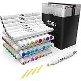 ARTIFY 48 marqueurs de ciseau de pinceau de couleur marqueurs d'artiste à double pointe professionnels ensemble de marqueurs