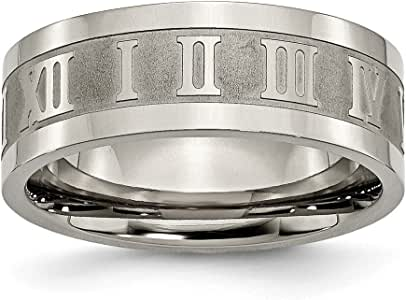 Brilliant Bijou Titanium Satin /& Polished Diamond Band