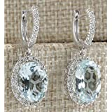 SOSUO Silver Fashion Women 925 Aquamarine Gemstone Bridal Stud Hoop Dangle Earrings(Style-Round)