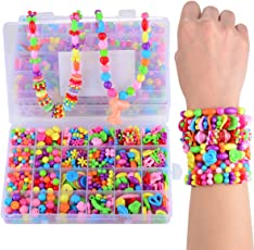 Licien Sunshine DIY Beads Set with Different Types and Shapes of Colorful Acrylic Jewelry in A Box for Children Necklace Bracelet Crafts Best Toys 4Th to 12