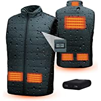 Waterproof Heated Vest Electric Heating Gilet Washable Heating Jacket 6 Heating Zone Warm Vest With Battery Pack Body…