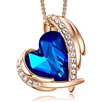 CDE Birthday/Anniversary Gift for Her Love Heart Pendant Necklaces for Women 18K White/Rose Gold Plated Necklace Jewellery Gifts for Wife
