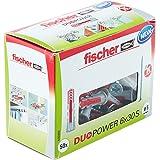 Fischer DUOPOWER 6 x 30 S, universele pluggen met veiligheidsschroef, 2-componenten-pluggen, kunststof pluggen voor bevestigi