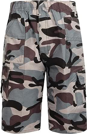 Garçons Enfants Camouflage Combat Été Multi Poches Shorts 3-14 Ans