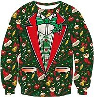 Loveternal Unisex Weihnachten Jumper 3D Druck Christmas Pullover Langarmshirt mit Xmas Top S-XXL