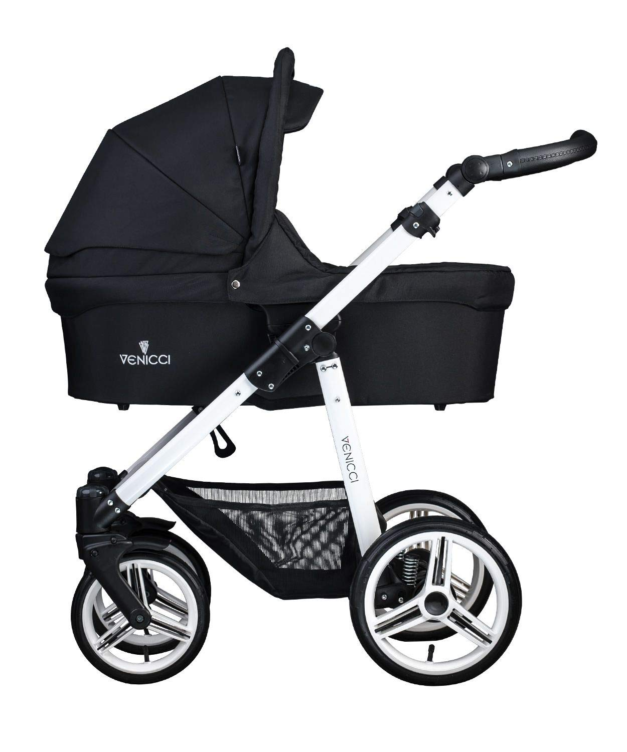 Venicci Soft Vento 3-in-1 Travel System - Black/White - with Carrycot + Car Seat + Changing Bag + Footmuff + Raincover + Mosquito Net + 5-Point Harness and UV 50+ Fabric + Car Seat Adapters  3 in 1 Travel System with included Group 0+ Car Seat Suitable for your baby from birth until 36 months 5-point harness to enhance the safety of your child 2