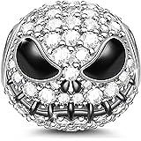 GNOCE - Charm a forma di teschio di Jack in argento Sterling 925, placcato nero, con zirconia cubica, per braccialetti e coll